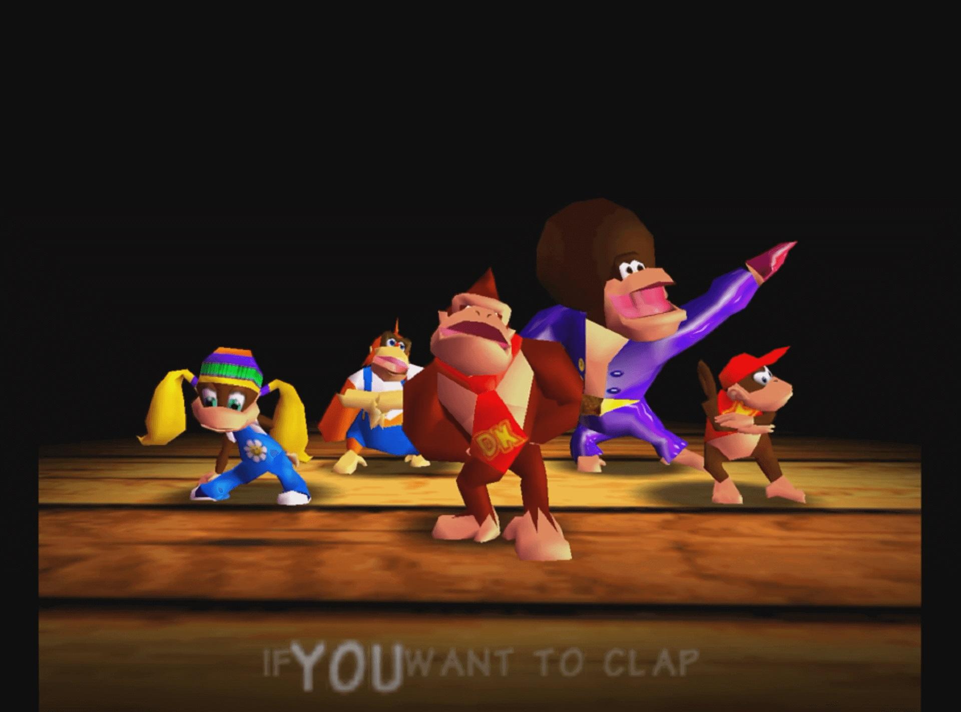 Donkey Kong und seine Freunde tanzen