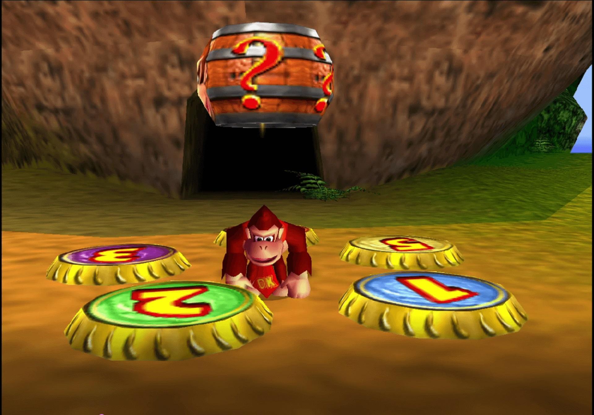 Donkey Kong auf einem Kronkorken Teleporter