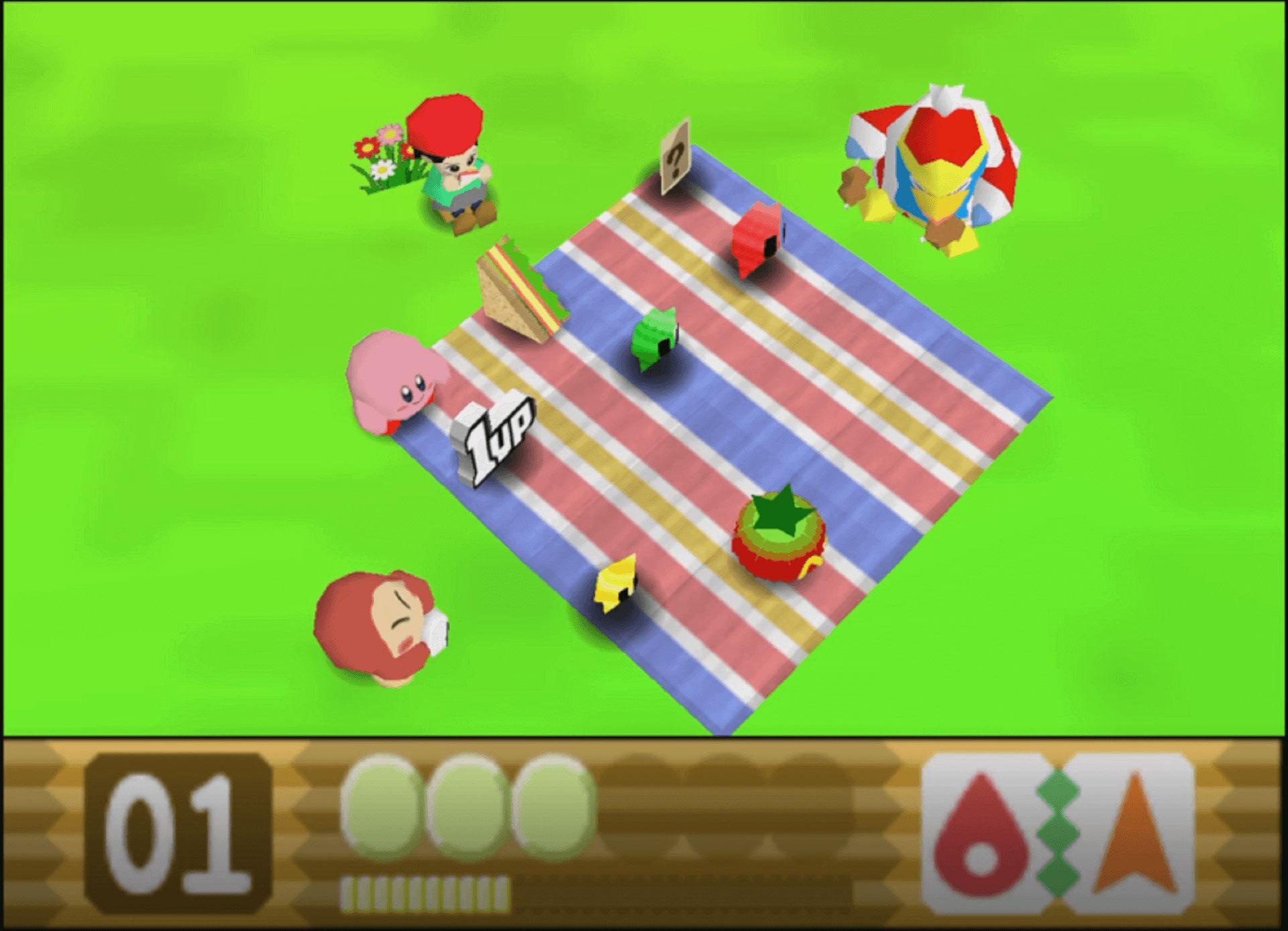Kirby mit seinen Freunden nachdem ein Level geschafft wurde beim Picknick