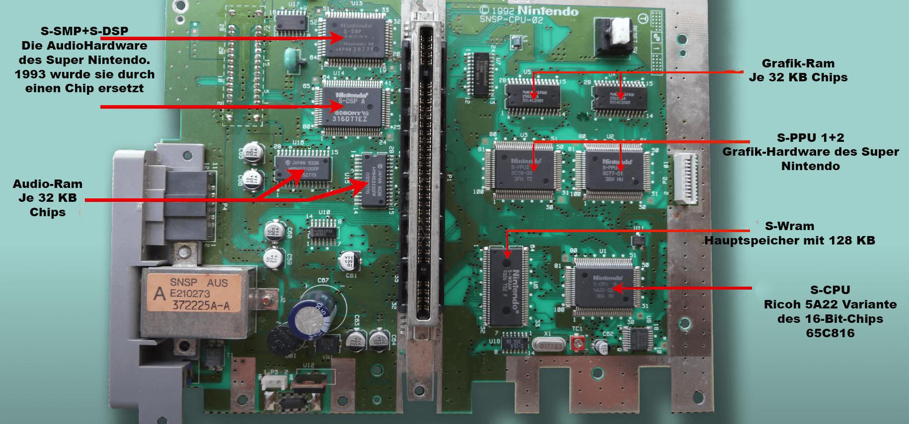 SNES Hauptplatine mit verschieden Chips