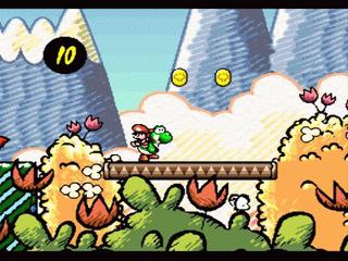 Super Mario World 2 Yoshis Island: Baby Mario wird von einem grünen Yoshi getragen