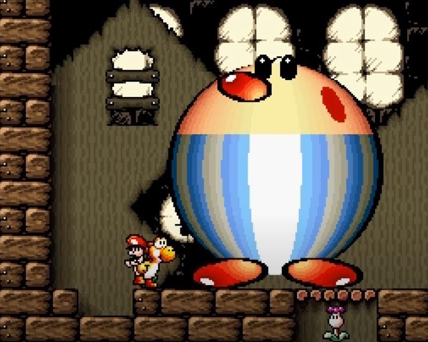 Yoshi steht mit Baby Mario vor dem ersten großen Gegner