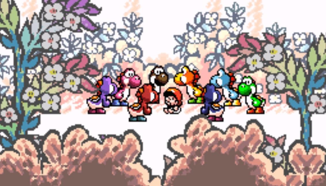 Bunte Yoshis stehen um Baby Mario herum