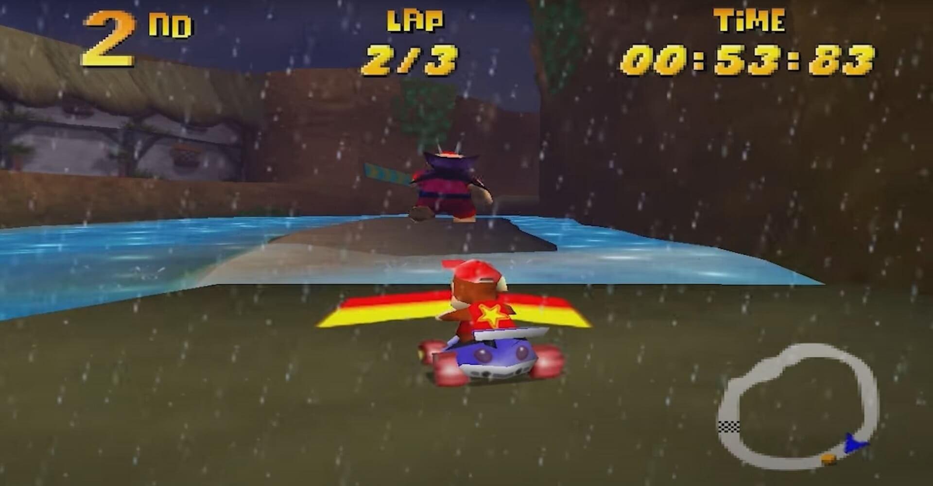 Diddy Kong Racing: Diddy Kong fährt ein Rennen gegen Wizpig