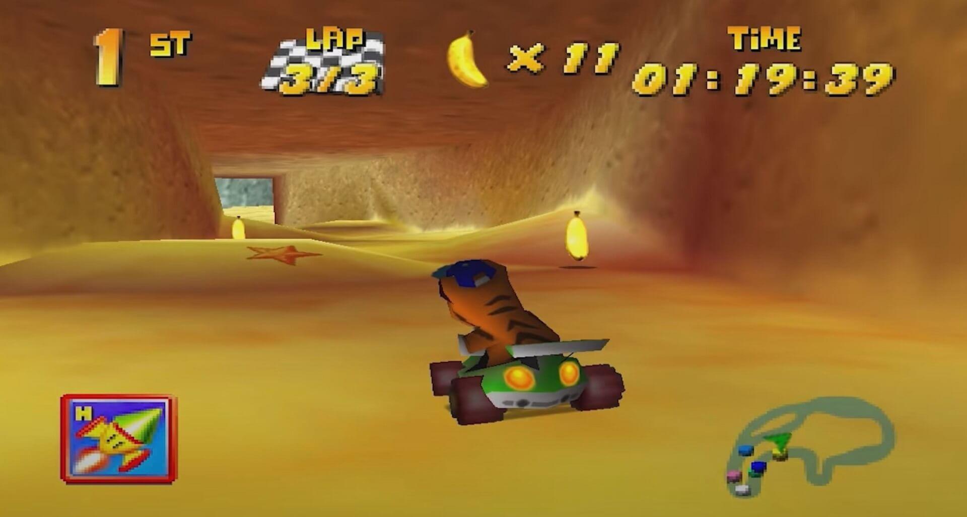 Diddy Kong Racing: Timber fährt eine Abkürzung