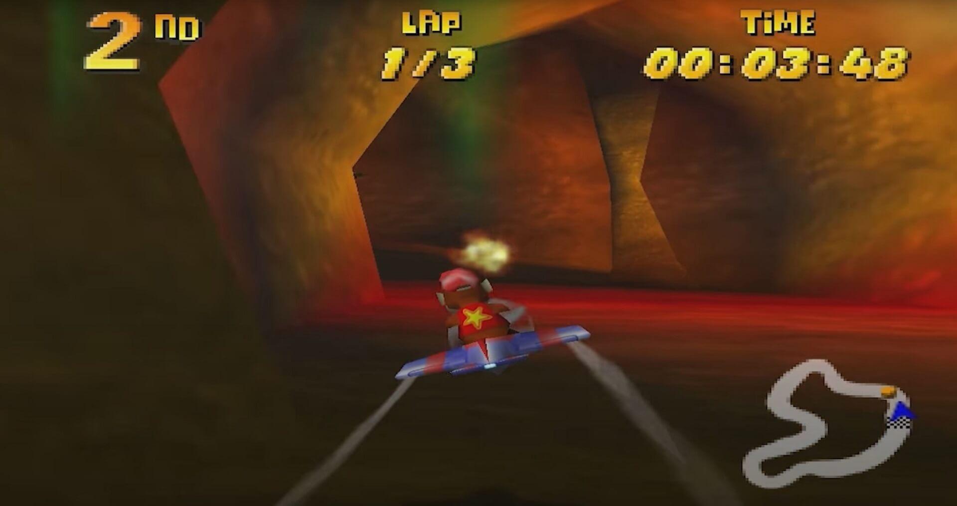 Diddy Kong Racing: Diddy Kong verfolgt den Drachen Boss