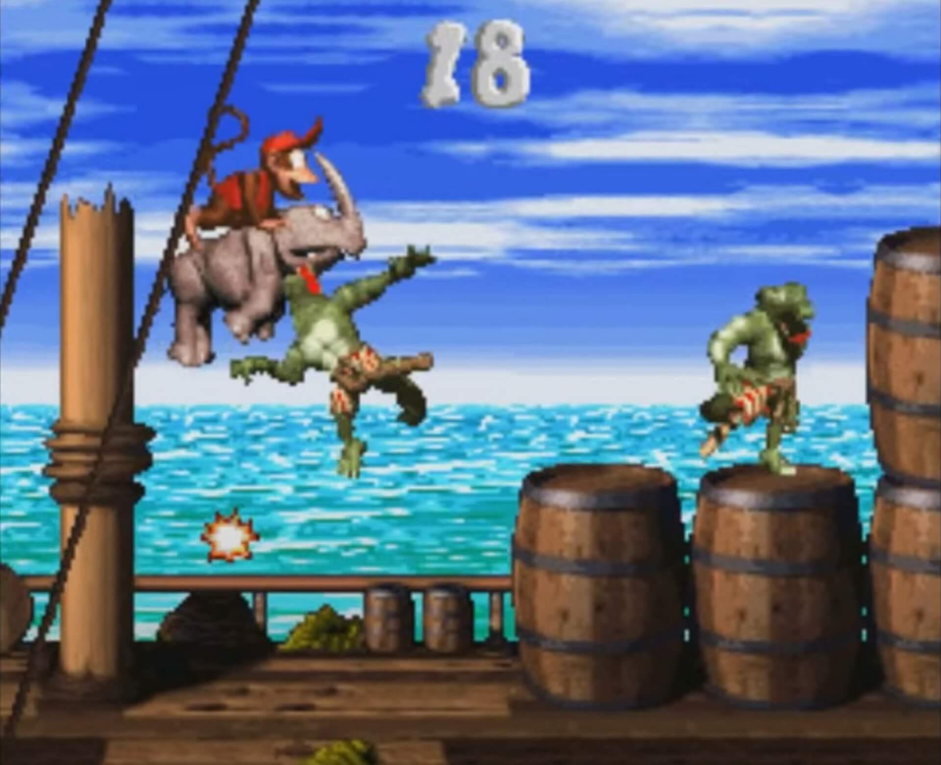 Donkey Kong Country 2: Diddy´s Kong Quest: Rambi , das Nashorn greift Kremlings an