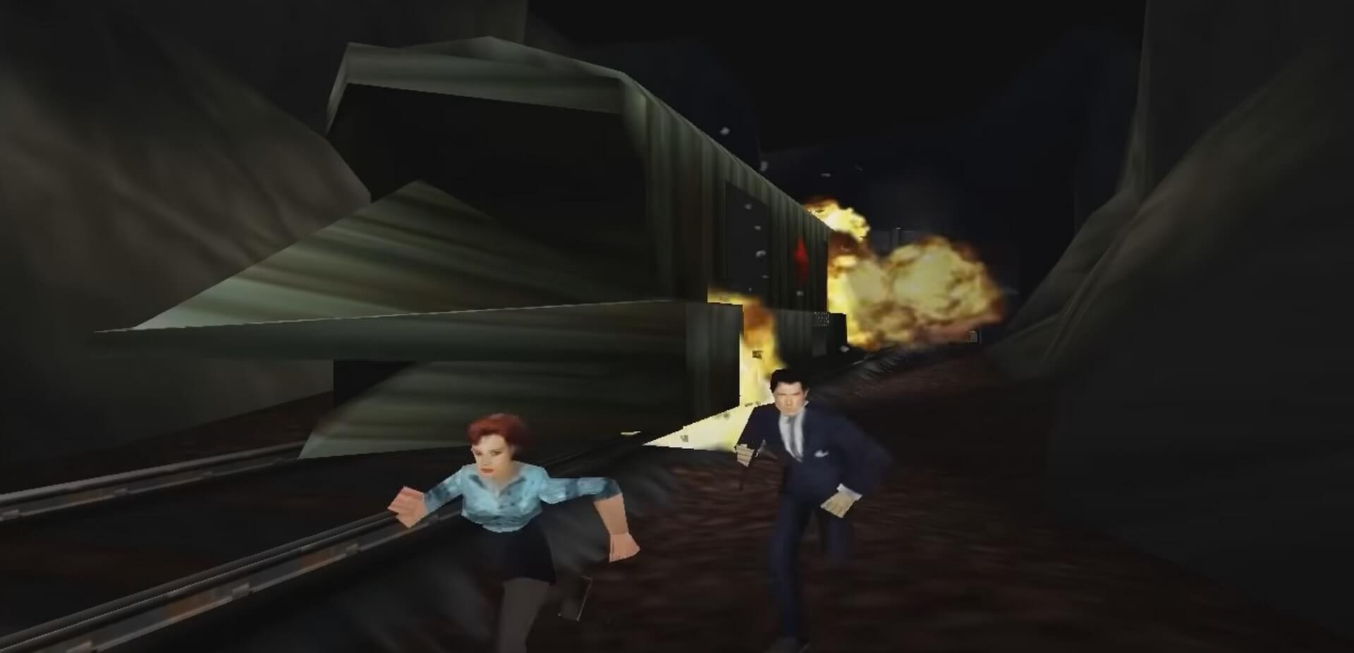 Golden Eye 007: Pierce Brosnan rennt von einem explodieren Zug weg