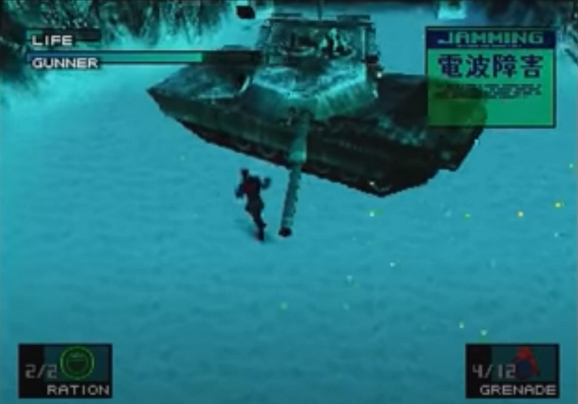 Metal Gear Solid: Solid Snake kämpft gegen einen Panzer