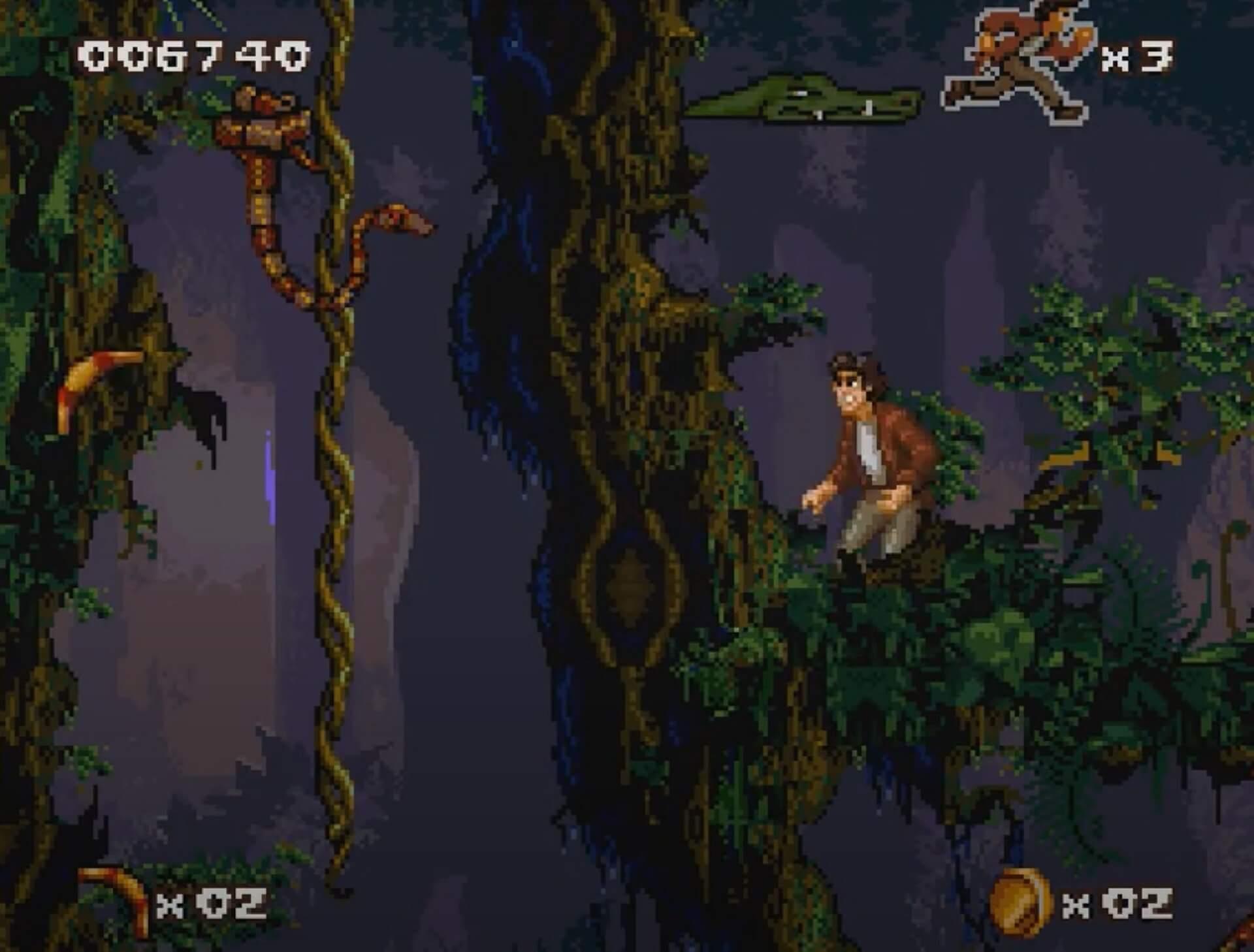 Pitfall The Mayan Adventure (SNES): Pitfall Junior versucht eine Schlange von der Liane zu vertreiben