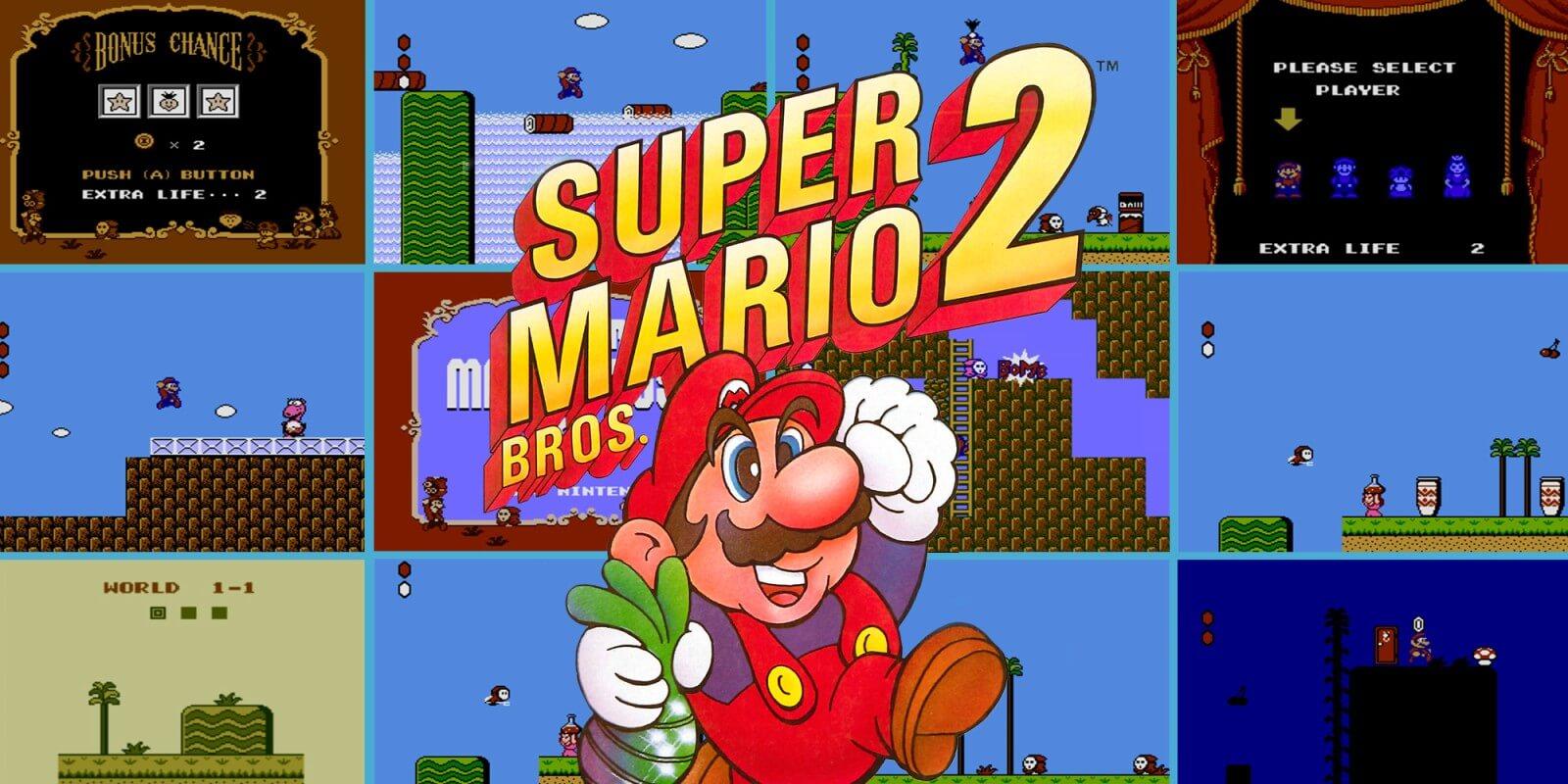 Super Mario Bros. mit Spielmechaniken von Super Mario Bros. 2