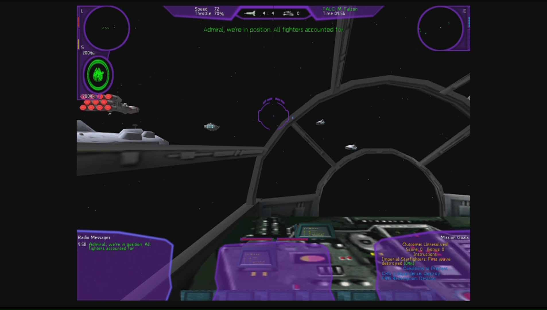 Star Wars X-Wing Alliance: HUD des Millenium Falcon