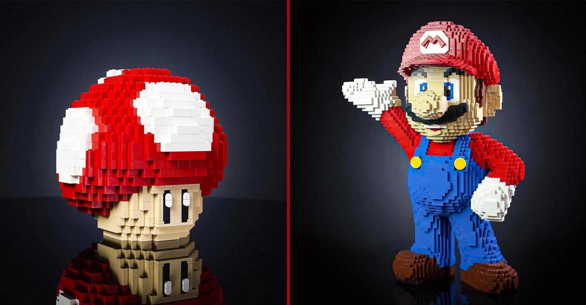 Mario und Pilz aus Lego nachgebaut