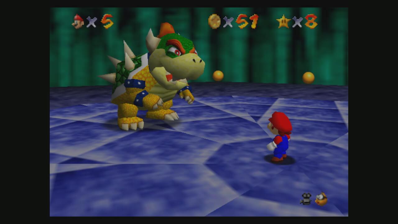 Super Mario 64: Mario kämpft gegen Bowser